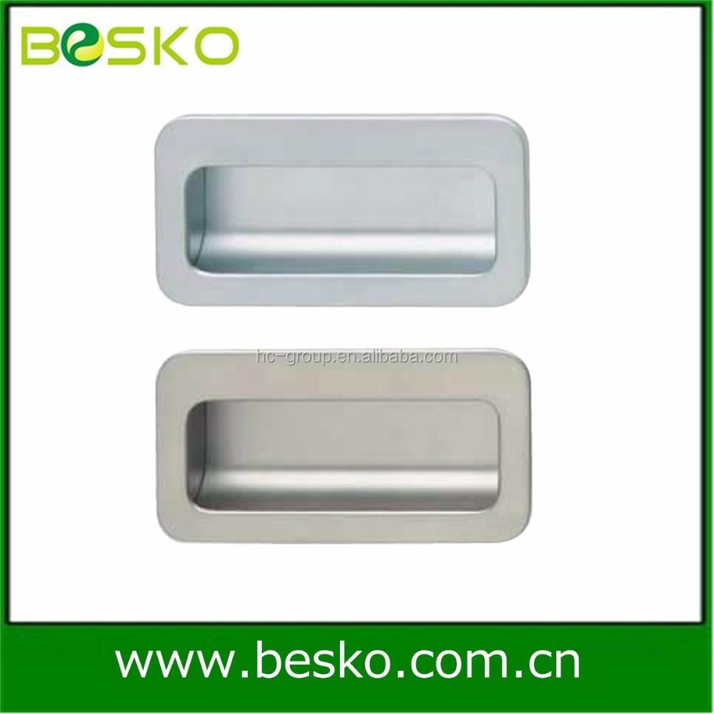 Matte Chrome Hafele Styles Zinc Concealed Cabinet Door Handles And