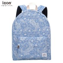 Denim canvas fashion backpack with star & worm printings