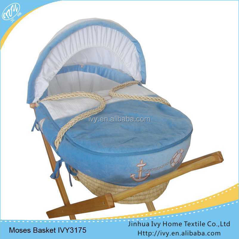 High quanlity wicker baby basket set infant bassinet