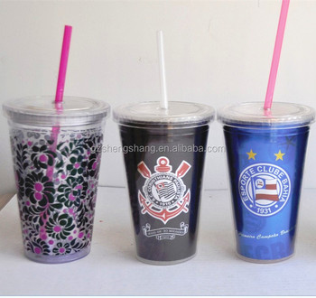 16oz double wall plastic tumbler with paper insert