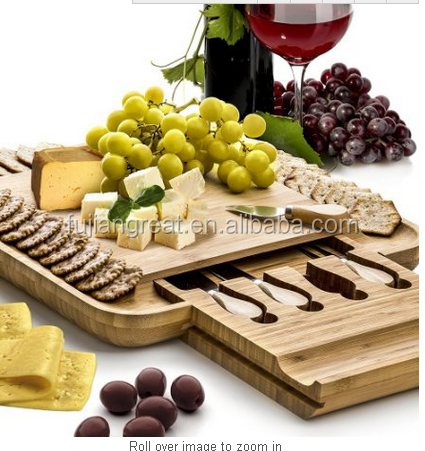 All-in-one 5 Pieces 100% Top Bamboo Storage Cheese Cutting Board Set With A Slide Out Tray