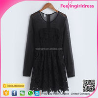 Fitness Wholesale Long Sleeve Black Micro Mini Dress