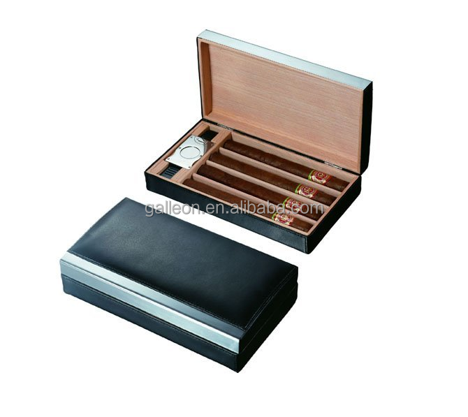 Black Leather Cigar Travel Humidor Holds 4 Cigars cedar tray with cigar cutter and humidifier