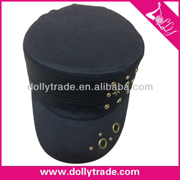 Wholesale Flat Top Military Hats Military Style Baseball Cap with Rivets