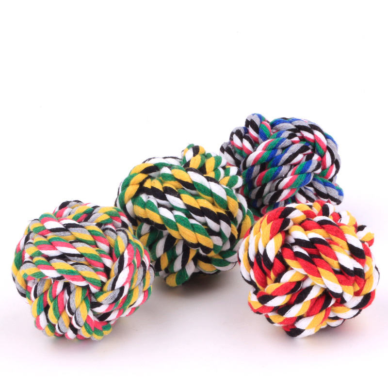 pet accessories wholesale S size cotton dog rope toys pet toys ball