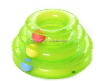 Amazon Hot sale! Plastic high quality Cat tunnal tower track toy cat amusement plate with colorful ball