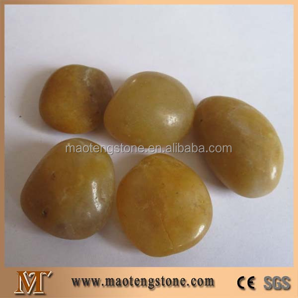 Round Yellow Stone River Cobble Floor Design Polished Pebbles Big