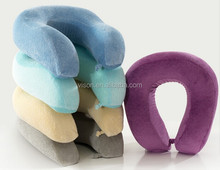 Travel Memory Foam Neck Roll Pillow with Button Car Pillow