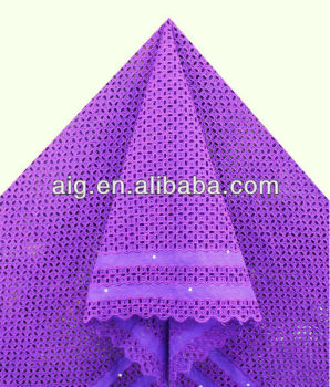 Purple African New Model Super Wax Printed Lace Fabric For Garment