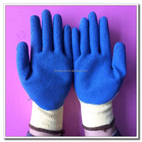 Hand Protective Anti Cut Gloves Blue Latex Coated Level 3 Cut Resistant Gloves for Grip