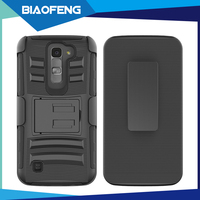 2016 hot sale 3 in 1 heavy duty protective phone case with belt clip for lg k7