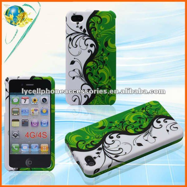 Green Vines Flower Skin For Apple Iphone 4G 4S Waterproof Hard Rubber Design Case