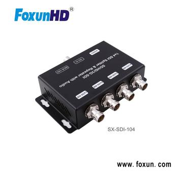 4 port SDI Splitter & Repeater with audio extraction (3.5mm stereo audio output), support 120m