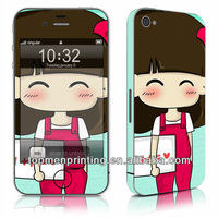 Cute cartoon girl strong printable vinyl 3m adhesive skin stickers (front and back) for iphone 4