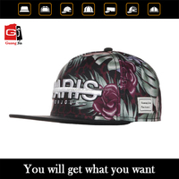OEM/ODM Wholesale Custom Fashion 3D Puff Embroidery Digital Printing Floral Snapback Cap/Hat