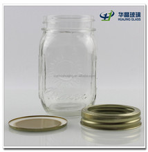 Hot sale 400ml 14oz square wide mouth glass storage mason jar with two pieces twist off tin lid wholesale