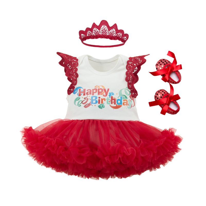 Baby Girl Happy 1st Birthday Print Tutu Dress Outfit With Crown Hairband