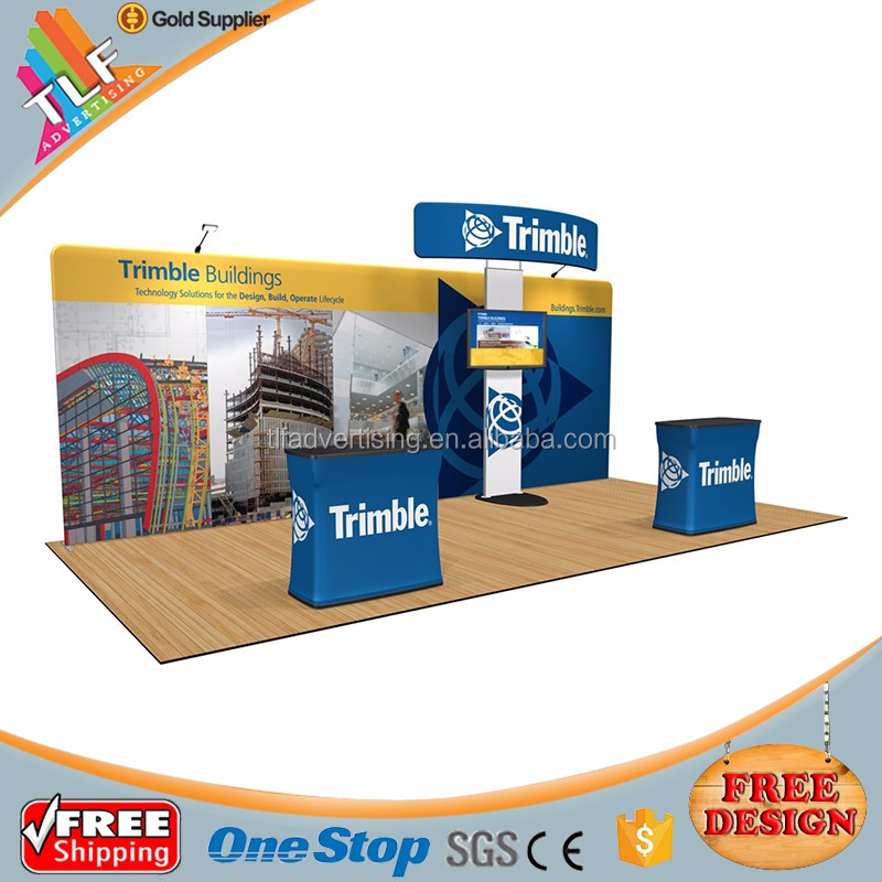 Tension fabric trade show display stand 10ft aluminum backdrop banner stand for exhibition