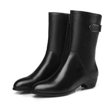 Wholesale Fashion Women Genuine Leather Block Heel Boots Sexy Ladies Winter Workwear Boots Shoes