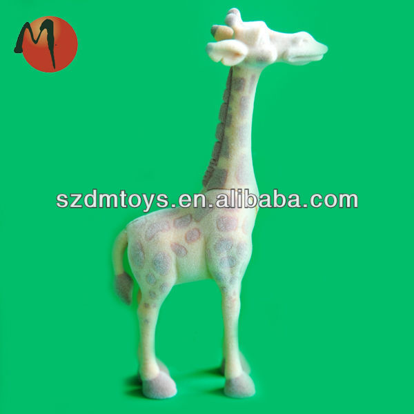 novelty giraffe flocked figurines plastic toy forest animal