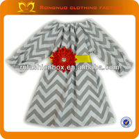 2013 wholesale christmas baby dress Grey chiffon puffs cotton chevron dress with spider daisy flower belt for girls
