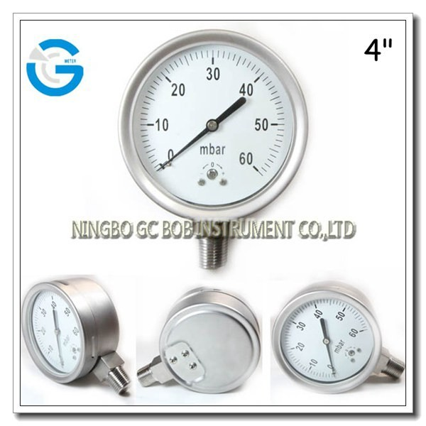 High quality 4 inch all stainless steel capsule mbar low pressure gauge with bottom connection