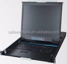 Dual rail 19 inch lcd rack mount console kvm switch