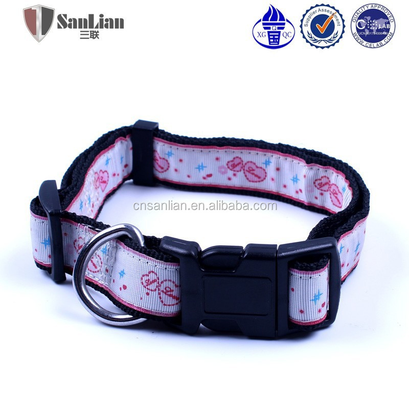 Colorful nylon dog collar with quick adjuatable plastic metal buckle