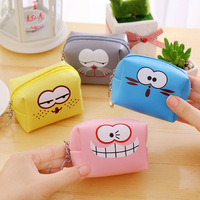 New small wallet cartoon coin purse PU leather square zero wallet with key ring