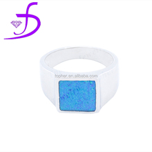 925 fashion big blue opal silver jewelry party charm ring for man and woman