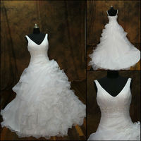 JJ2901 Newest Organza Ball Gown Long Train V neck Wedding Dress 2013