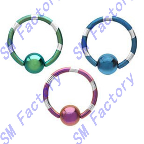 3 piece lot green & silver stripe, purple & silver stripe, blue & silver stripe anodized titanium captive bead ring --SMY44002