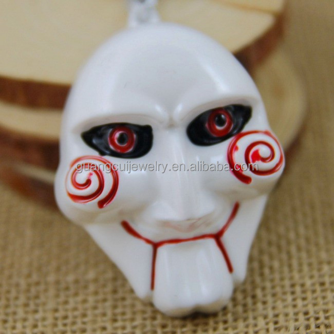 Horror movie Saw Jigsaw mask key ring keychain