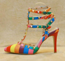 Monroo spring and summer new European and American fashion temperament sexy sandals rivets Rainbow Shoes