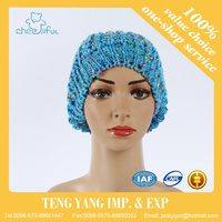 Promotional blue color new style winter hat crochet knit adult size beanies hat