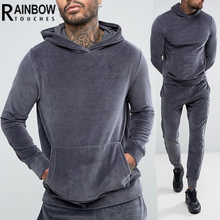 Wholesale custom velour tracksuits for men slim fit hoodies