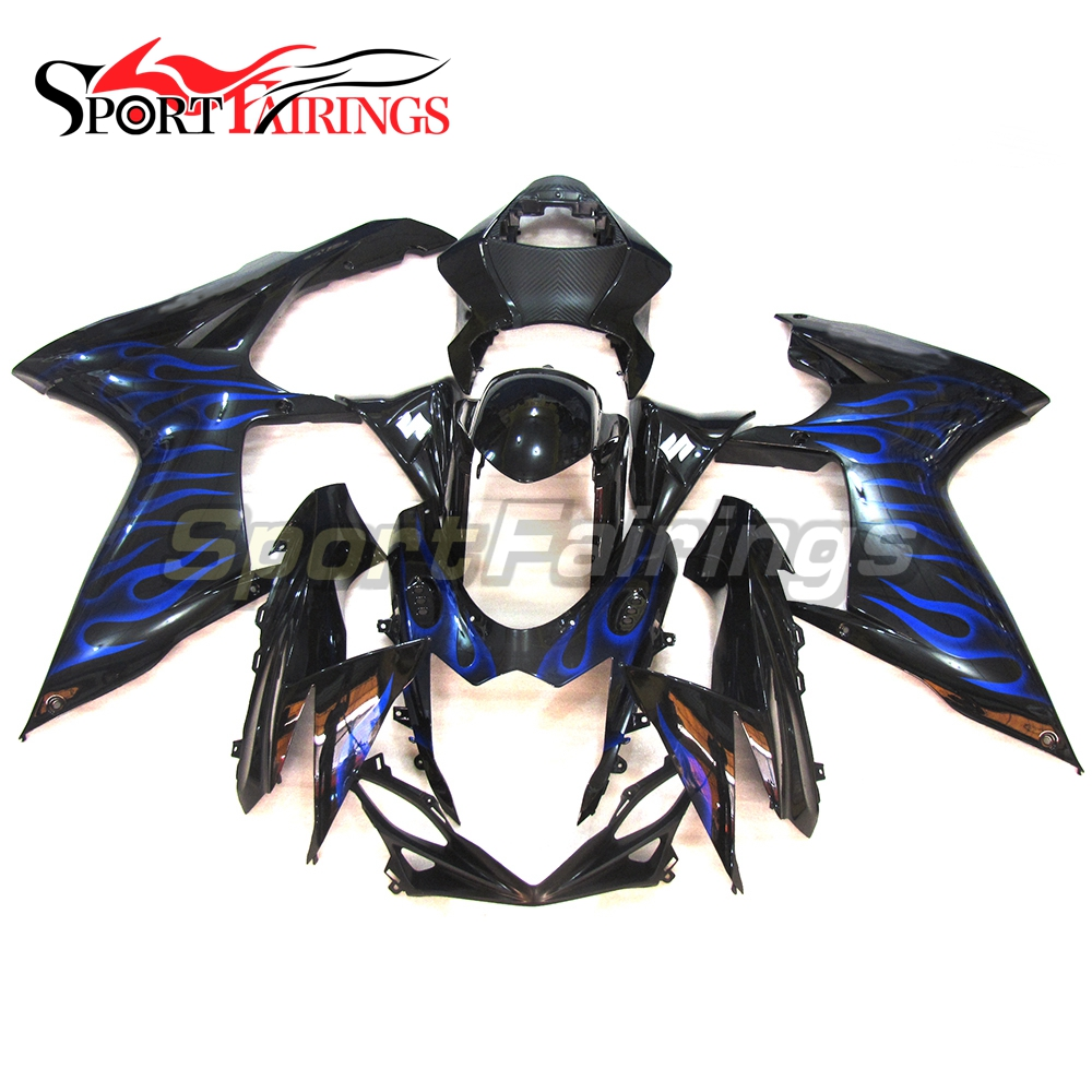 Complete Fairings For Suzuki GSXR600 GSXR750 <strong>K11</strong> 11 12 13 14 ABS Plastic Motorcycle Fairing Kit Black Blue Flames