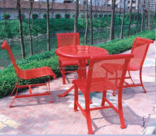Outdoor cafe table and chairs metal site furnishing`