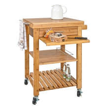 Bamboo Kitchen Trolley Kitchen Cart with Chopping Board