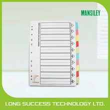 customized color a4 paper index file divider