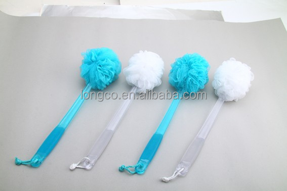 cheap plastic long handle puff mesh bath sponge