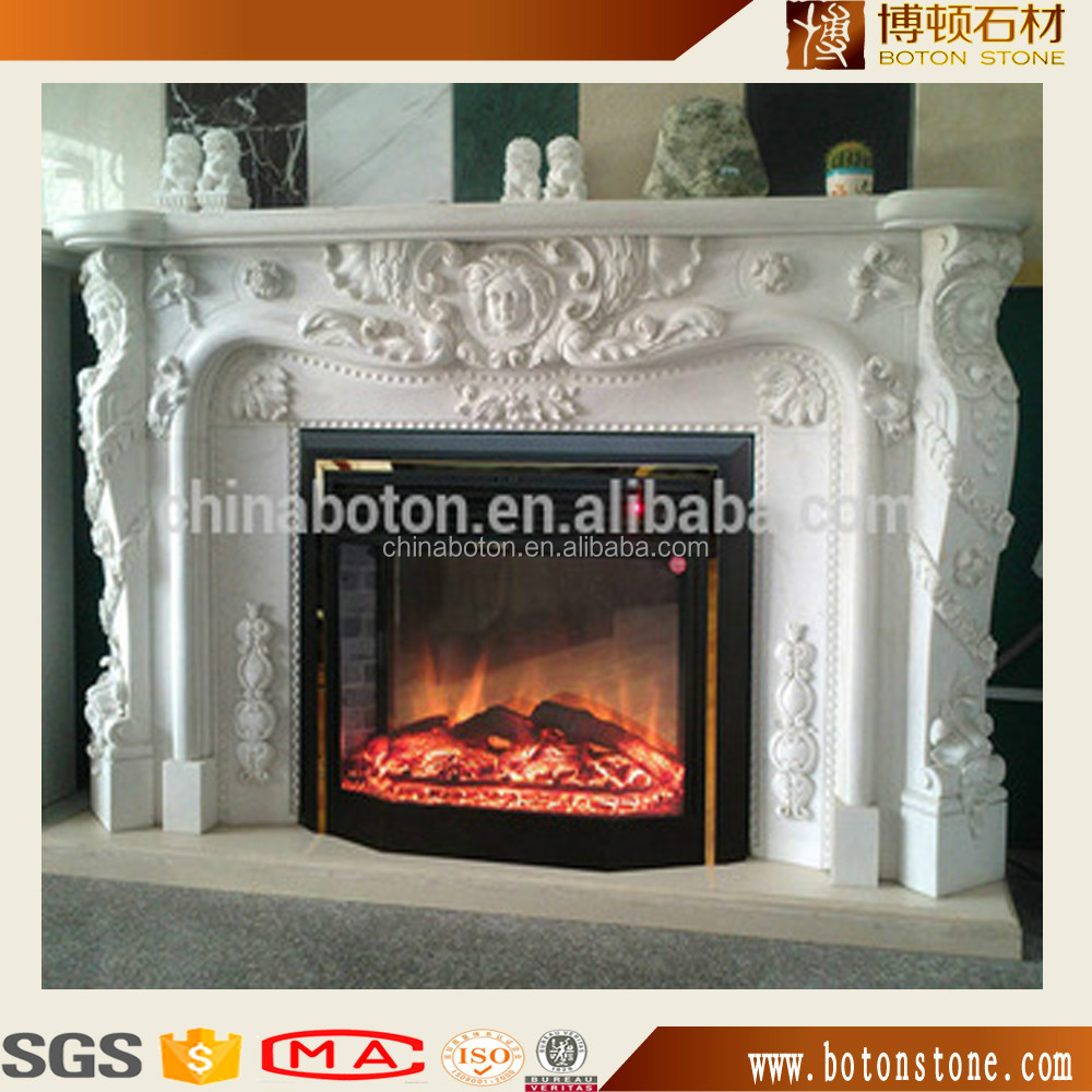 Natural Marble Chimney Piece Granite Mantel Shelves On