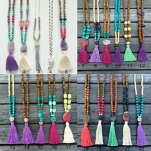Wholesale Long Gemstone Beaded Necklace Tassel Necklace Costume Jewelry