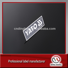Aluminum nameplate, small metal logo