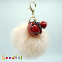"Novelty 4.7"" Wholesale Cute Pink Faux Fur Bag Charm Bell Mobile Strap Keychain Fur Ball Pom Pom Fake Fur Puff Keyring"