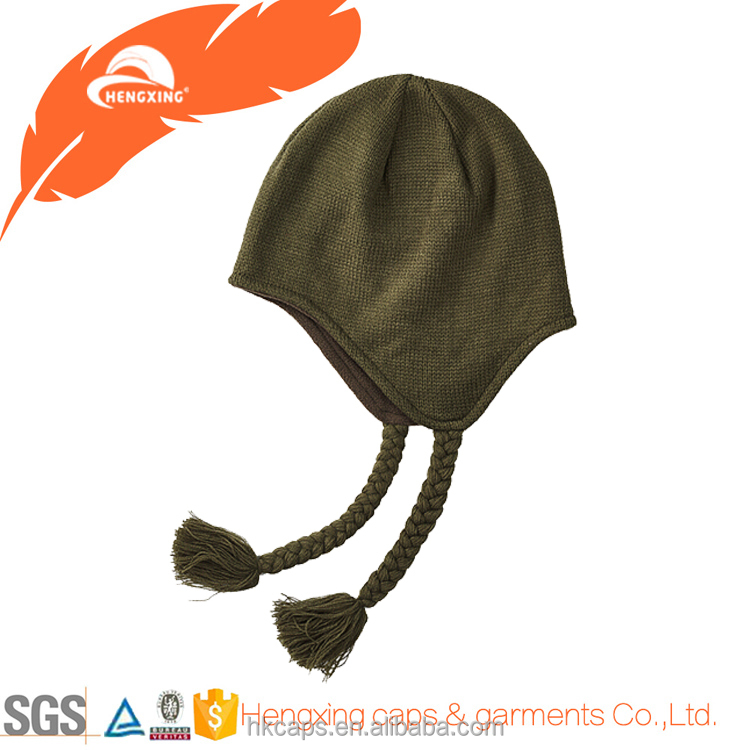 Custom Olive Long Pattern Studs Knit Beanie Winter Hat With Earflap