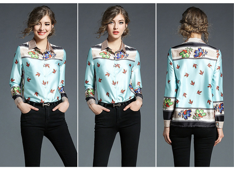 2018 Spring Lady Polyester Shirt Long-sleeved V-neck Shirt