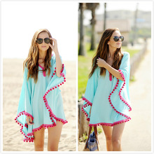 WNK12 Loose wholesale beachwear pom pom trim women beach dress