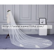 wholesale customized bridal veil trim simple white color 3 meter wedding veil in stock