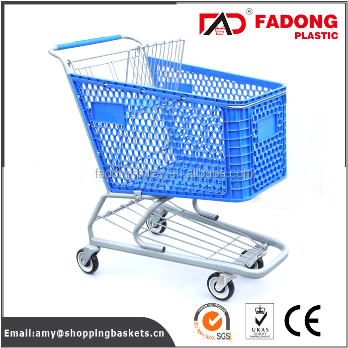 Plastic supermarket shopping cart with metal stand